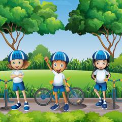 Sm square boys and girls riding bike